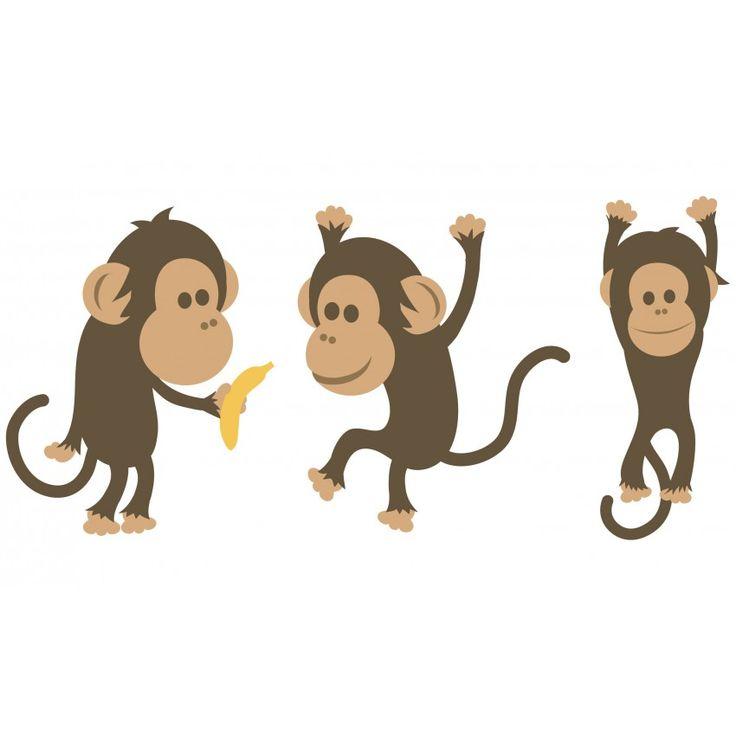 Sticker enfant : 3 singes