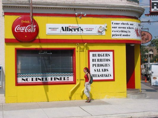 Prince Albert's Diner  Affordable and delicious junk food. Typical Canadian diner food, Mexican, Burgers, etc.