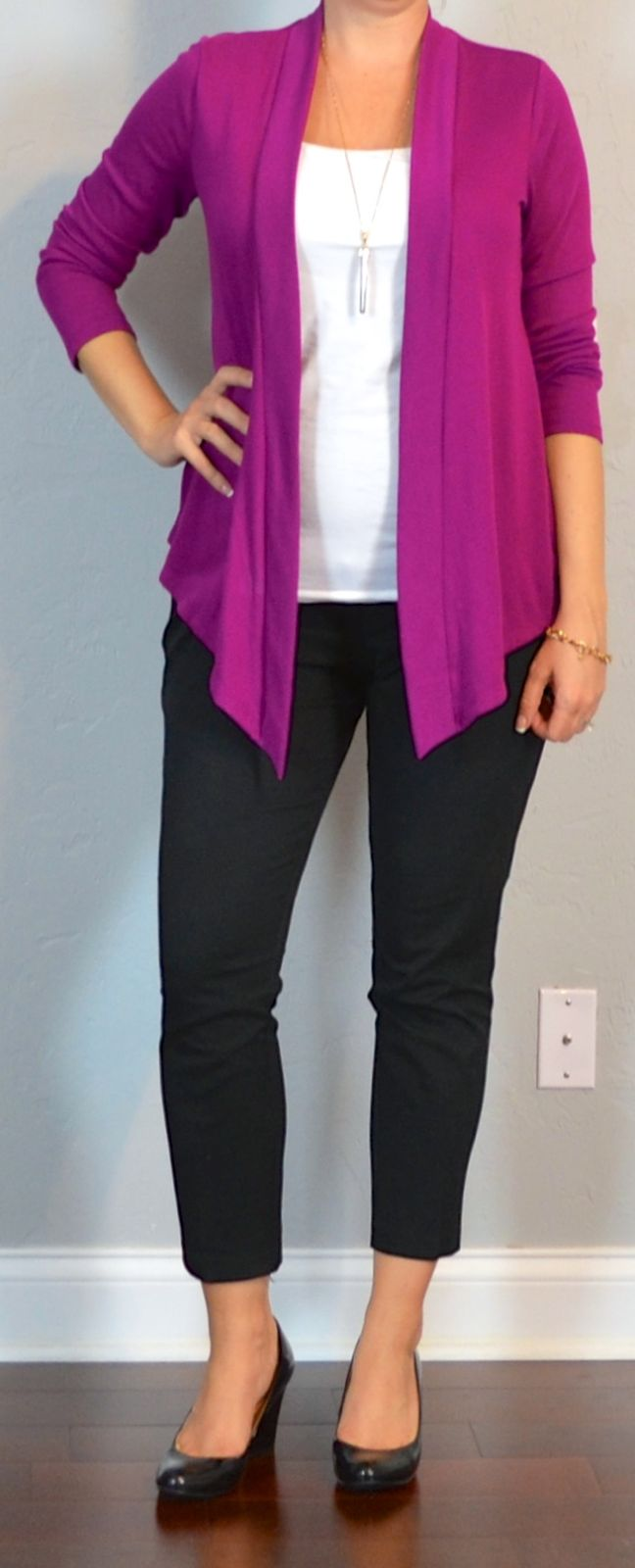 Outfit Posts: outfit posts maternity: pink drapey cardigan, white maternity tank, black cropped maternity pants, black wedges