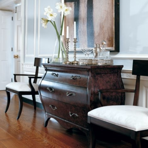 Ethan Allen Entryway With Our Modern Glamour Klismos Chairs.