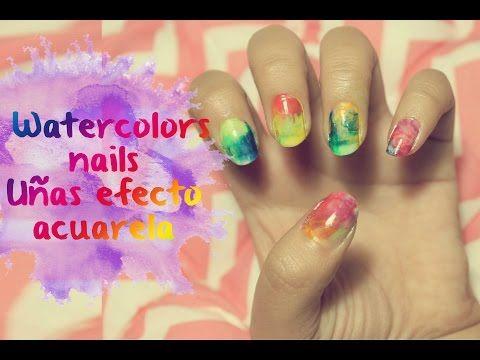 ▶ Watercolors nails sin agua / Uñas efecto acuarela - YouTube