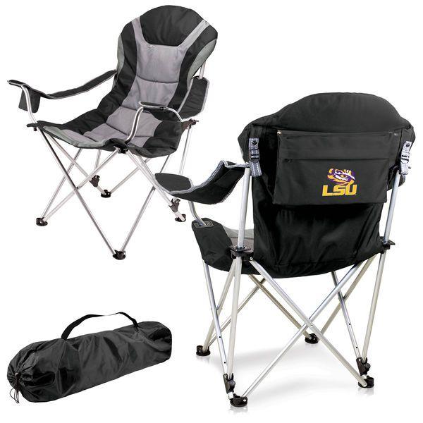 LSU Tigers Reclining Camp Chair   Black