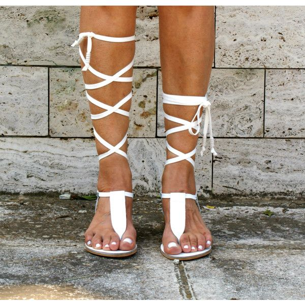 Irini 4 Leather Gladiator Sandals Ancient Greek Sandals Lace Up Sandals Spartan Sandals Handmade (€68) found on Polyvore featuring women's fashion, shoes, sandals, gladiator & strappy sandals, grey, women's shoes, flat gladiator sandals, ankle strap sandals, flat sandals and laced up gladiator sandals