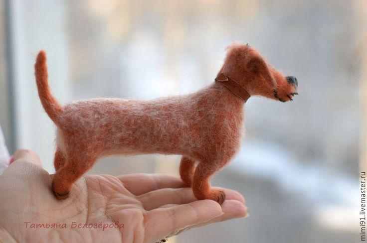 Купить Такса Изюм - рыжий, такса, собака из шерсти, смешная игрушка, Мокрое валяние