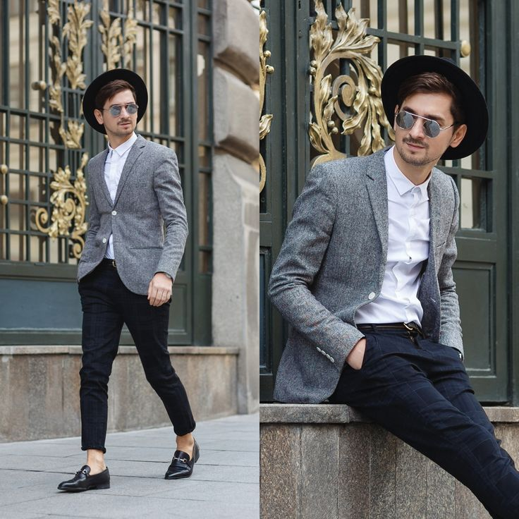 Blog post: http://themysteriousgirl.ro/ro/2015/10/sunday-stroll/ Instagram: https://instagram.com/adriansunriseinc/  black hat pants grid white shirt round sunglasses mirrored grey jacket blazer shoes