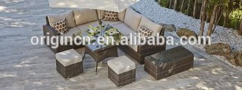 top sale outdoor high backrest dining / sofa set with footstools cheap rattan…