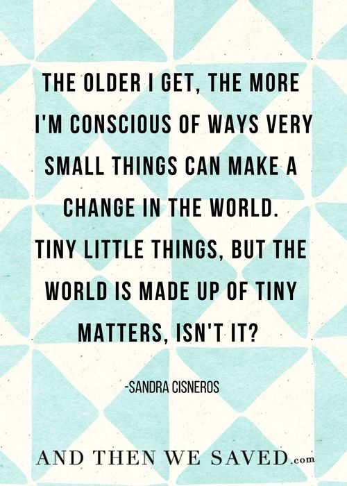 """""""The older I get, the more I'm conscious of ways very small things can make a change in the world. Tiny little things, but the world is made up of tiny matters, isn't it?"""" -Sandra Cisneros   AndThenWeSaved.com"""