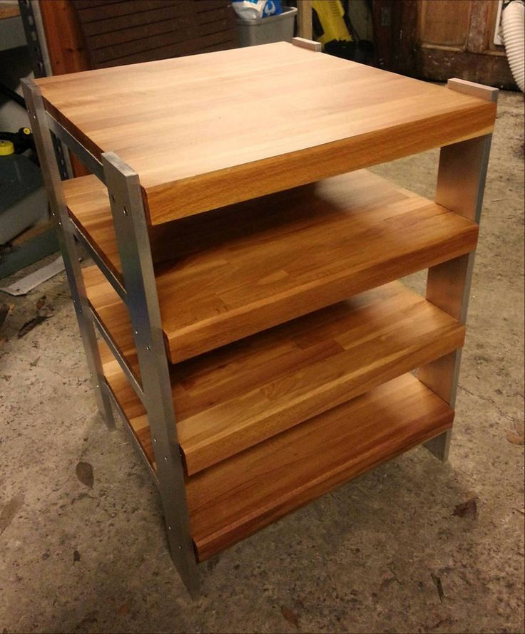 Ikea hack using cutting boards.  Could use aluminum rails like these guys or could use pipes for a rustic looking end table
