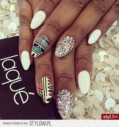 paznokcie białe wzorki - Szukaj w Google