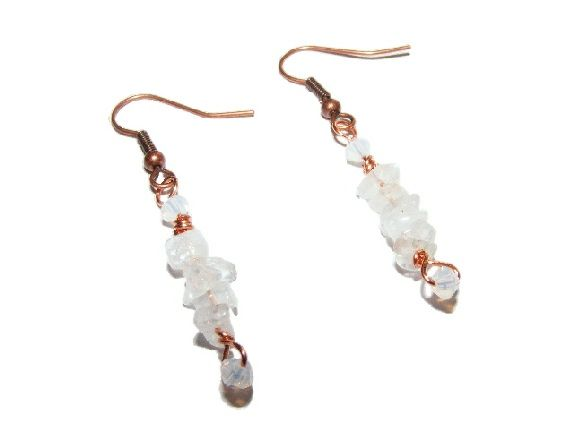 Copper Earrings created using Moonstone Chips and White Opal Swarovski Crystals. £5.99