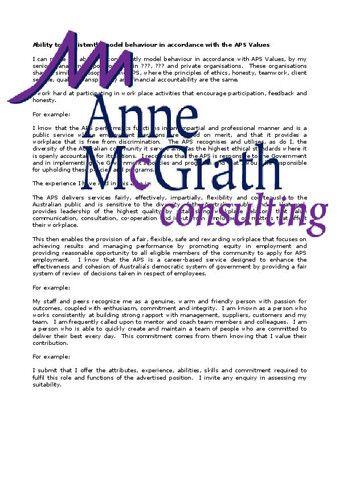 Management - Federal Public Service APS Values – Professional Resumes @ Anne McGrath Consulting