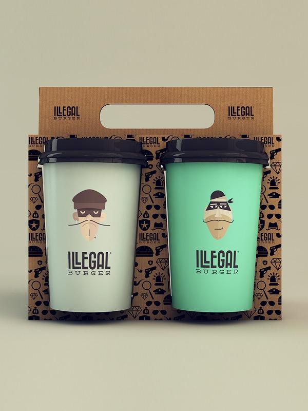 Illegal Burger Packaging Design http://pinterest.com/fancybt/beautiful-packaging/