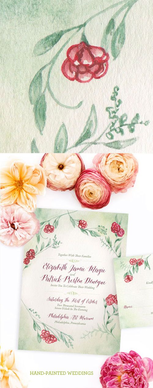 The Rose Vine wedding invitation is the romantic with an air of secret garden whimsy. The red roses weave through green vines in this watercolor wedding invitation by Hand-Painted Weddings.