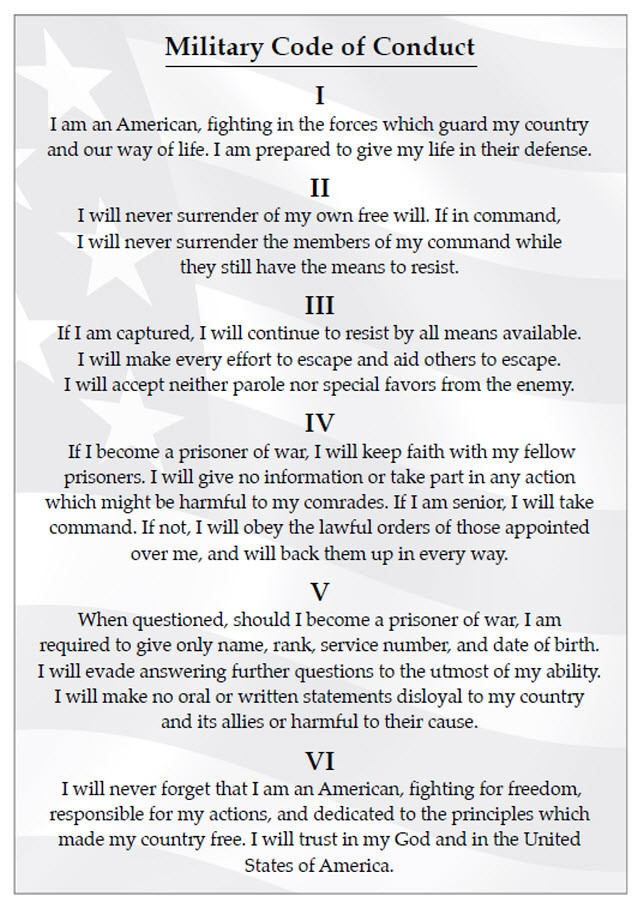 The Military Code of Conduct, used by the Army, Navy, Air Force, and Marines--was a foundational set of principles that helped Lee Ellis and his comrades survive more than 5 years as prisoners-of-war in Vietnam. These principles are a great guide for any leader--military, civilian, corporate, government, or private sectors!