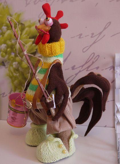 """Игрушки животные, ручной работы. Текстильный петушок """"Ух, порыбачим!!!"""". Юлия…"""
