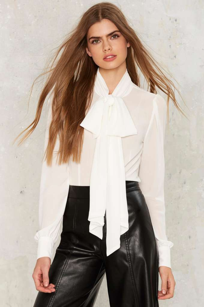Nasty Gal Don't Ask Tie Pussy Bow Blouse - Ivory | Shop Clothes at Nasty Gal!