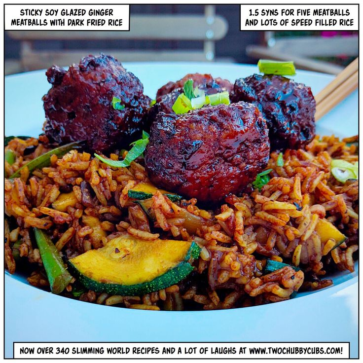 Sticky soy glazed ginger meatballs served with rice filled with speed veg, perfect for Slimming World