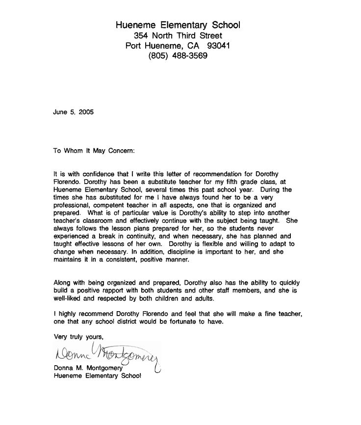 recommendation letter sample for teacher from student     resumecareer info