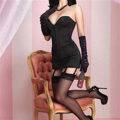 Channel your inner Dita von Teese with this satin corset dress.
