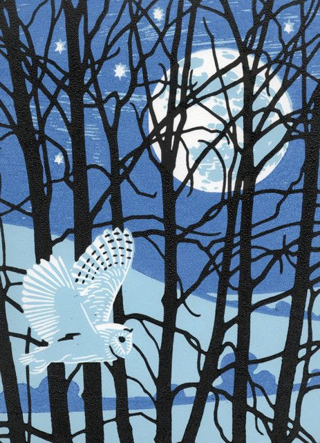 'Full Moon Owl' By Printmaker Nick Wonham. Blank Art Cards By Green Pebble.