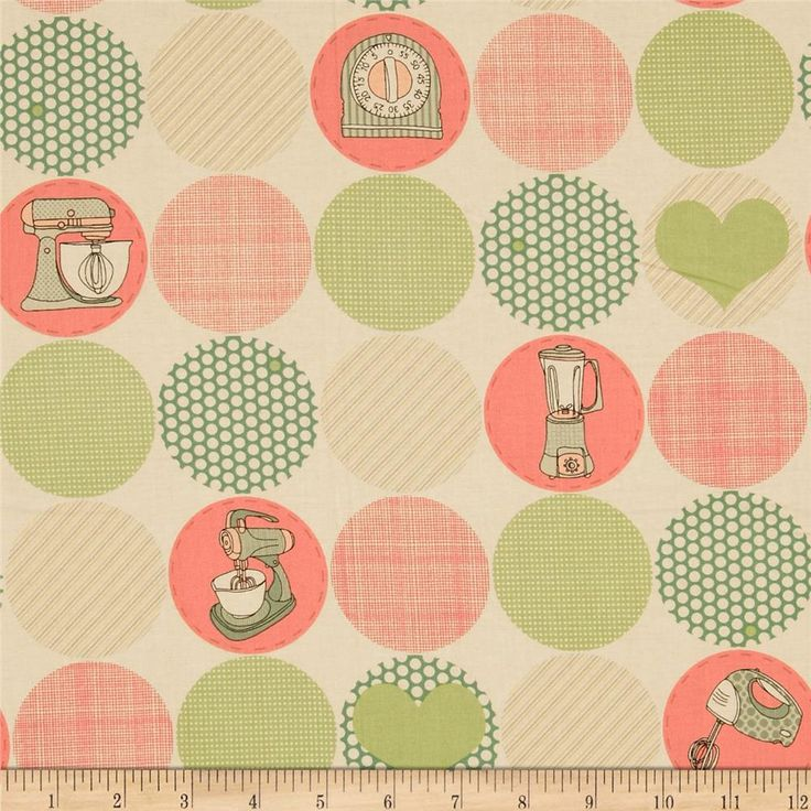 Kitschenette Kitchen Circles Cream from @fabricdotcom  Designed by Claudine Hellmuth for Andover Fabrics, this cotton print is perfect for quilting, apparel and home decor accents.  Colors include sand, soft black, shades of pink and shades of green.