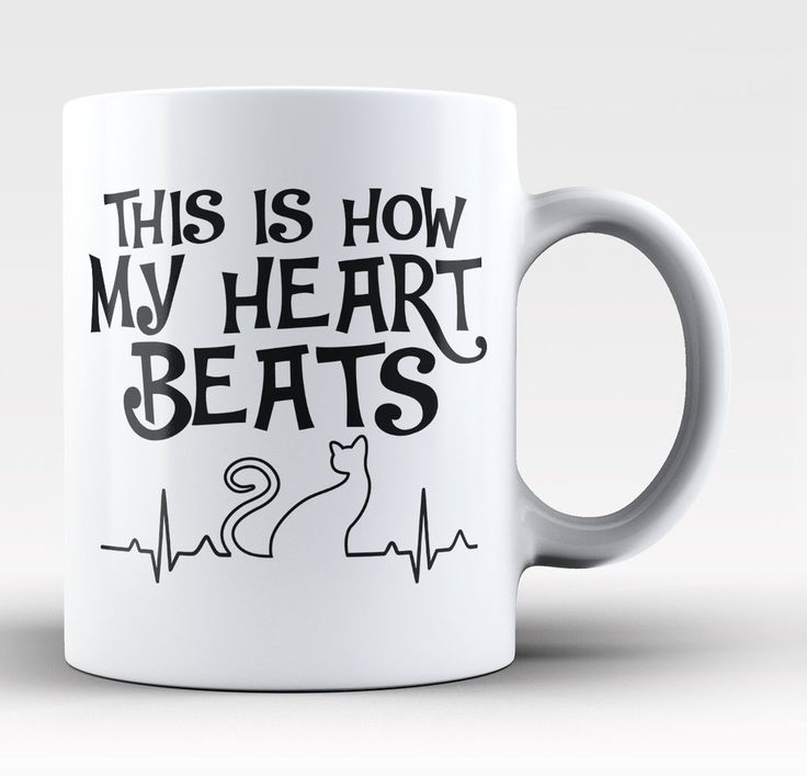 This is how my heart beats! The perfect coffee mug for cat lovers! Order yours today. Take advantage of our Low Flat Rate Shipping - order 2 or more and save. - Printed and Shipped from the USA - Avai