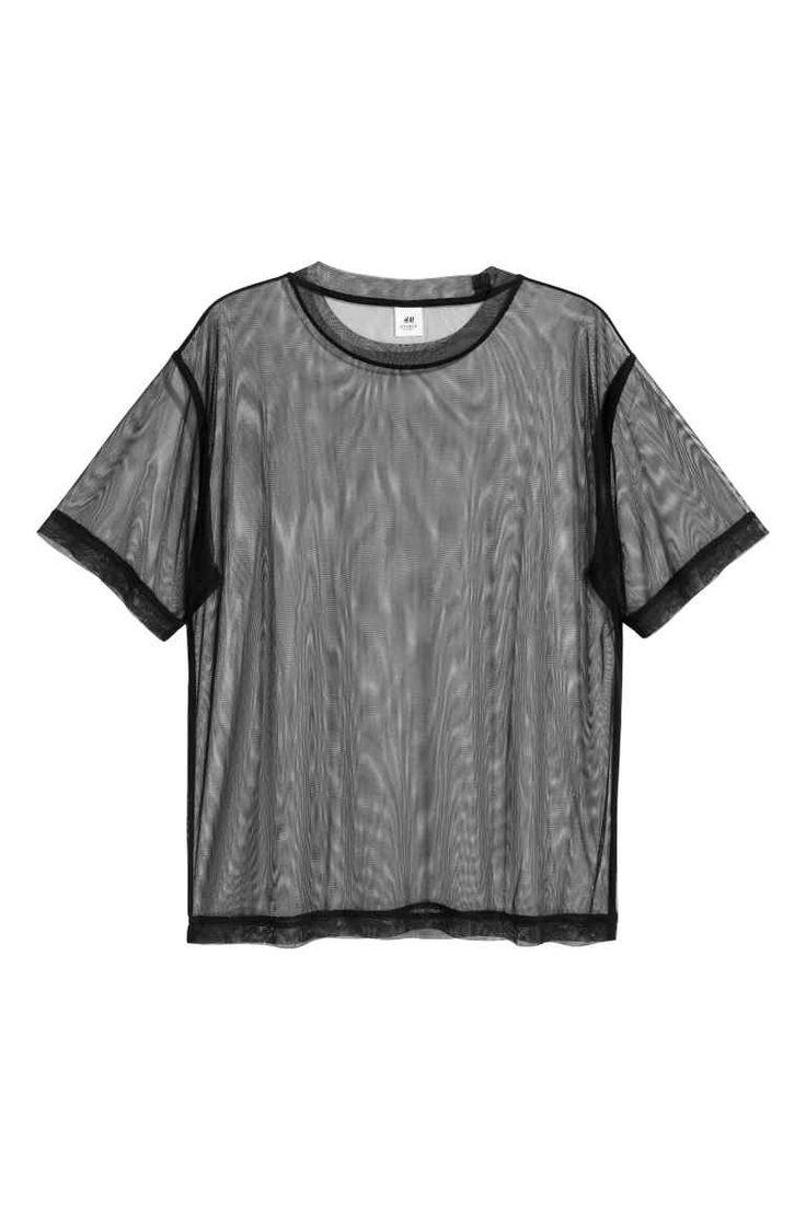 Wijd T-shirt van mesh - Zwart - HEREN | H&M NL 1