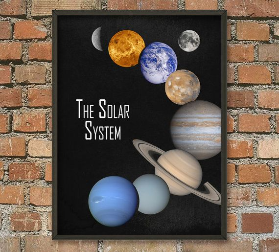 The Solar System Wall Art Poster - NASA Image - Astronomy Print - Cosmos Home Decor - Space Boys Bedroom Decor - Earth Sun Planets Poster  This