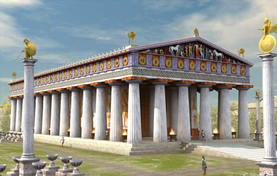 Temple of Zeus: more complete model of the Doric architecture style used by the Greeks. I can either create a hollow slab and cut out the columns, have a sold piece in the center for stability, or have a solid slab and simply cut out the columns. I am leaning more towards having supports in the interior.