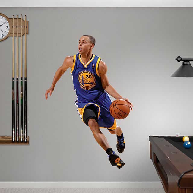 Stephen Curry REAL.BIG. Fathead – Peel & Stick Wall Graphic   Golden State Warriors Wall Decal   Sports Home Decor