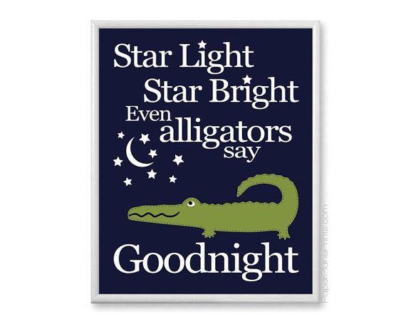 Star Light Star Bright Boys Nursery Rhyme, Alligator Nursery Art Print, Bedtime Theme, Baby Room Decor