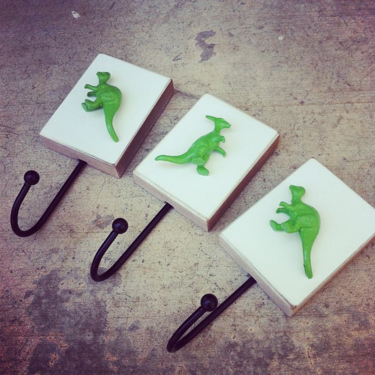 Hooks for dinosaur room... maybe attach to side of dresser??