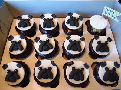 Whipple Scrumptious: Pug Cupcake Toppers  Make with pb buttercream with black fondant