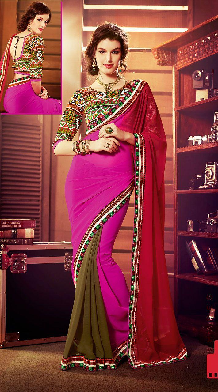 Khaki Green And Pink Chiffon Sequins Border Jaipuri Embroidered Blouse Saree