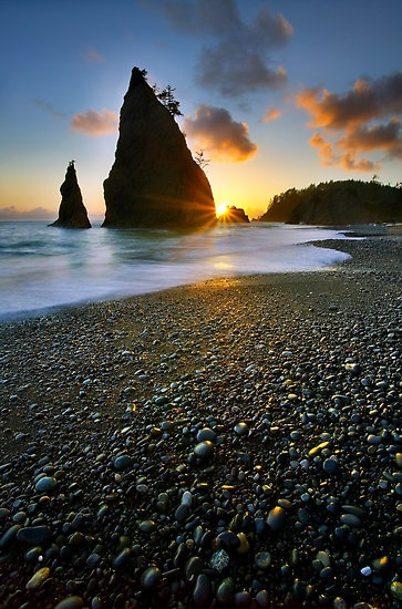 Ruby Beach, Olympic National Park, Washington State.  A bit of a hike to get here, but the hike's beautiful too. :)