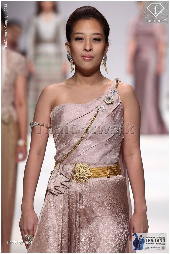 "HRH Princess Bajrakitiyabha of Thailand wears applied ""Thai Chakri"" National dress by ""Arada Couture"" with ""Royal Chakri diamond buckle and golden belt"" on MQ Vienna Fashion Week 2013"