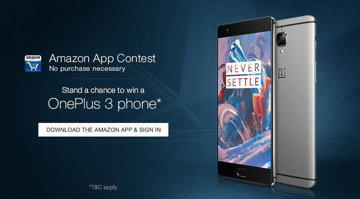 Amazon App Contest – Stand A Chance To Win Free OnePlus 3 Smartphone