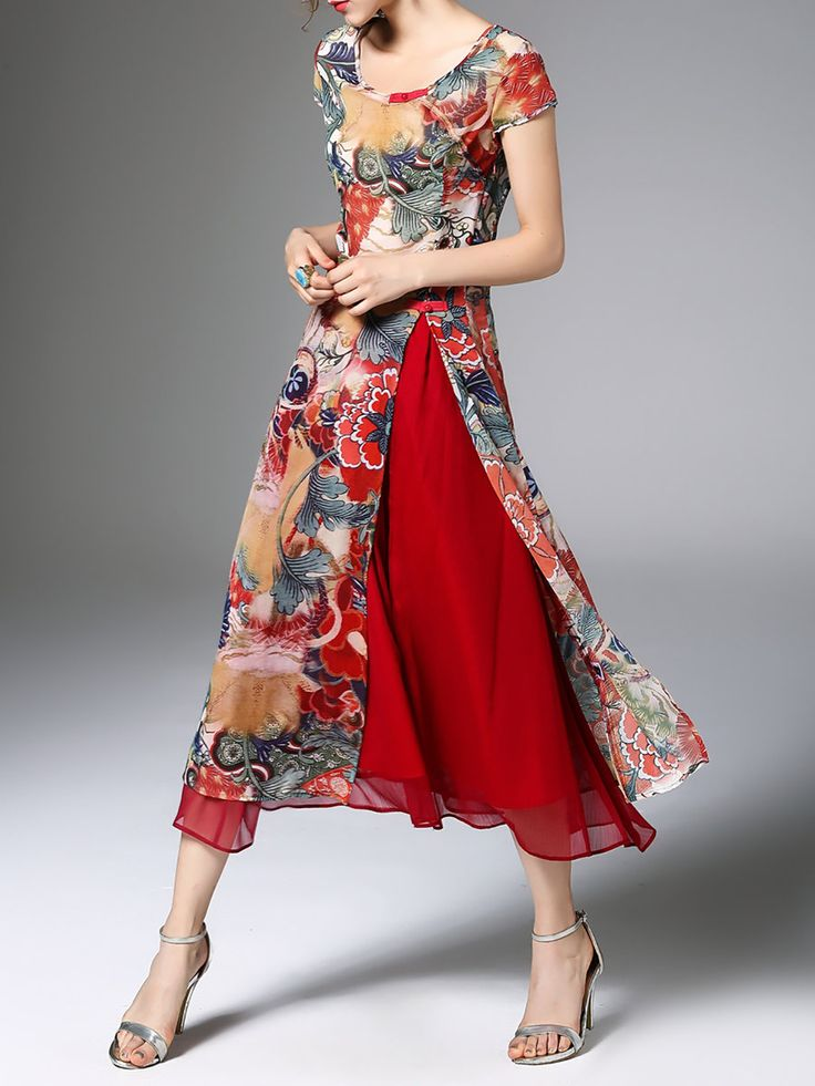 Red Slit Two Piece Casual Midi Dress - StyleWe.com