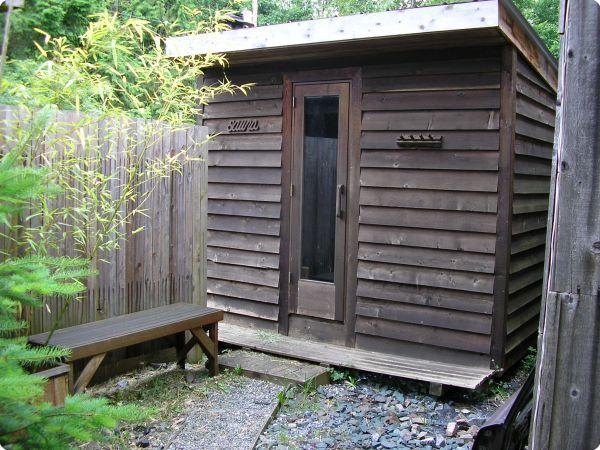 Naturally weathered cedar sauna