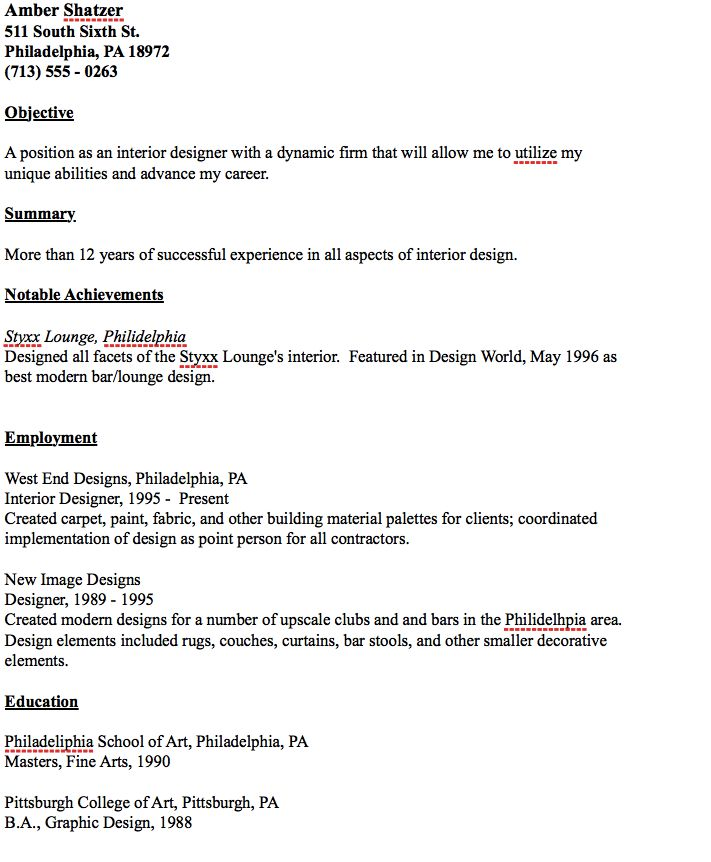 Example of Interior Designer Resume - http\/\/resumesdesign - achievements to put on a resume