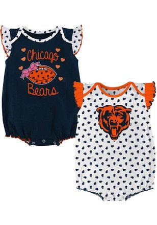 Chicago Bears Baby Navy Blue Heart Fan Creeper