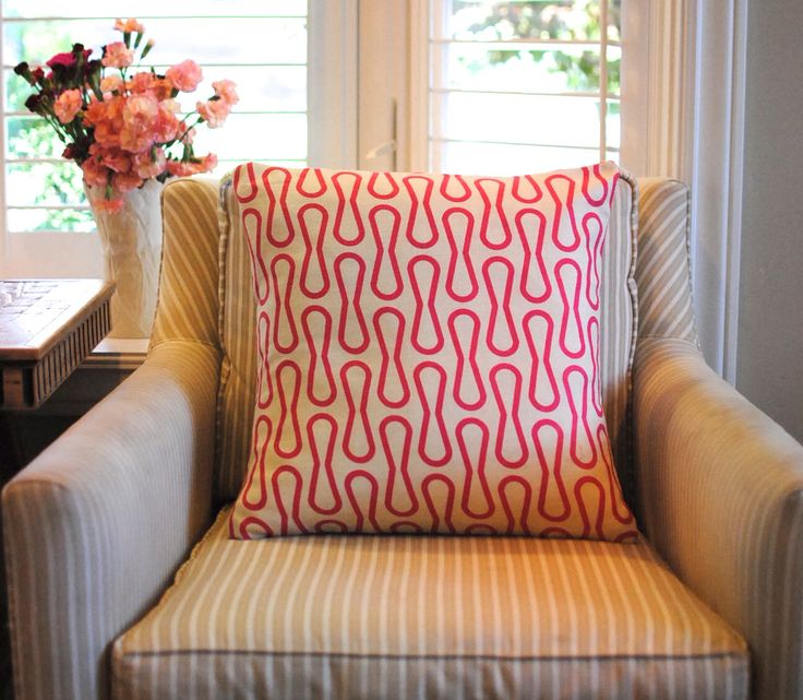 Pink and tan decorative pillow cushion cover. Mod retro modern farmhouse classic preppy winter. Cover for 20x20 insert. Window seat nursery by kangaroostitches on Etsy https://www.etsy.com/listing/250985367/pink-and-tan-decorative-pillow-cushion