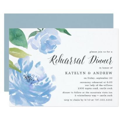 Something Blue | Rehearsal Dinner Invitation - summer wedding diy marriage customize personalize couple idea individuel