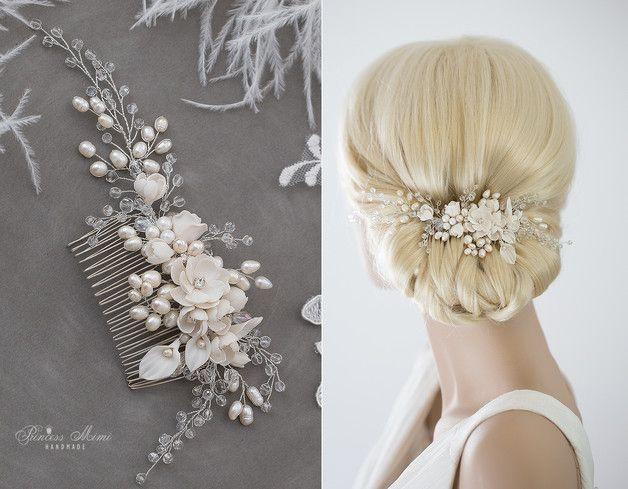 Braut Haarschmuck echte Perlen & Blüten Haarkamm