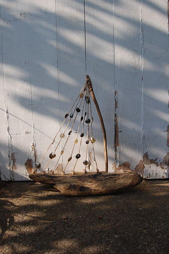 DRIFTWOOD SAILBOAT SCULPTURE with seashells beach home decor lake home decor. $45.00, via Etsy.