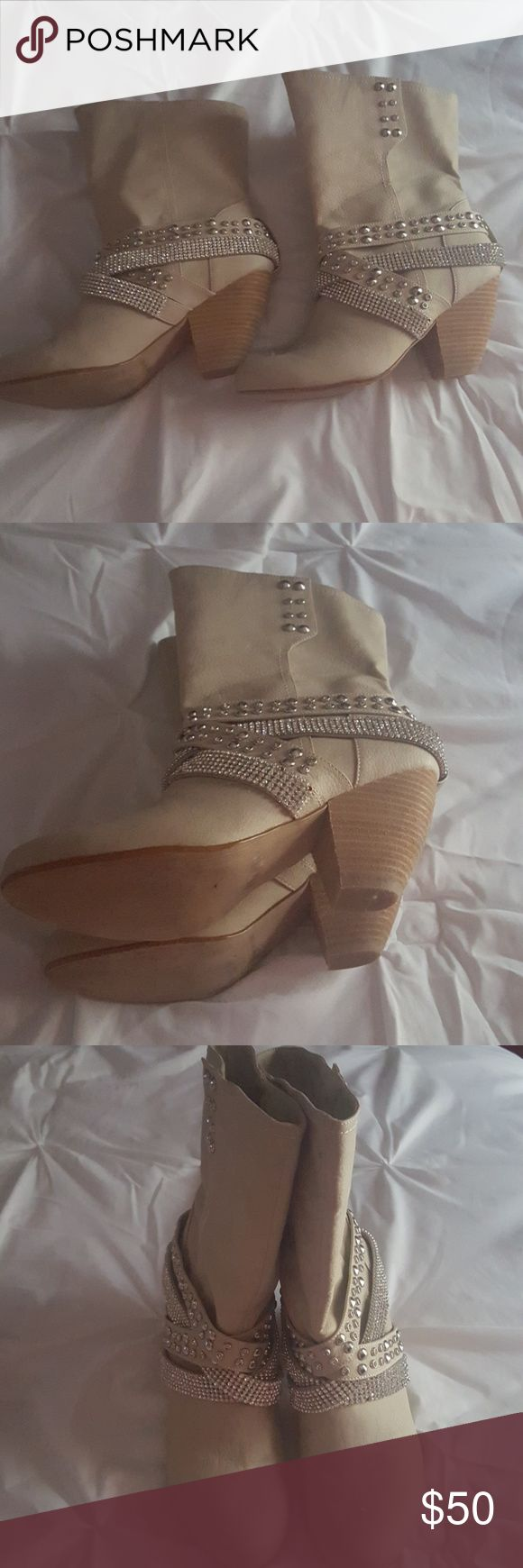 Not Rated EUC Bling Taupe/Creme Faux Leather Boots Size 9.5 Not Rated Shoes