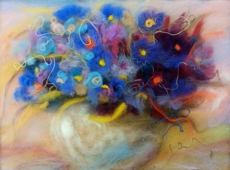 Floral Painting Violet Original painting Wool