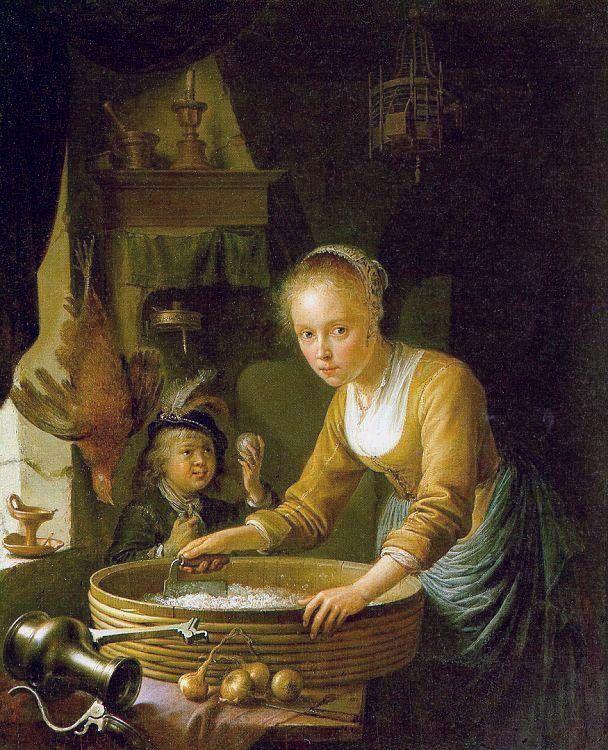 Dou Gerrit (1613-1675) Девочка, разделывающая лук ,1646 ,Королевская коллекция, Букингемский дворец (Лондон, Великобритания)