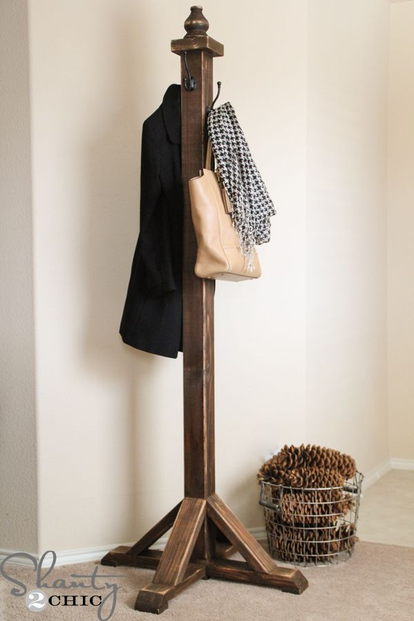 12 Creative DIY Coat Racks • A round-up of some really great coat rack projects with lots of tutorials! Including simple diy coat rack from 'shanty 2 chic'.