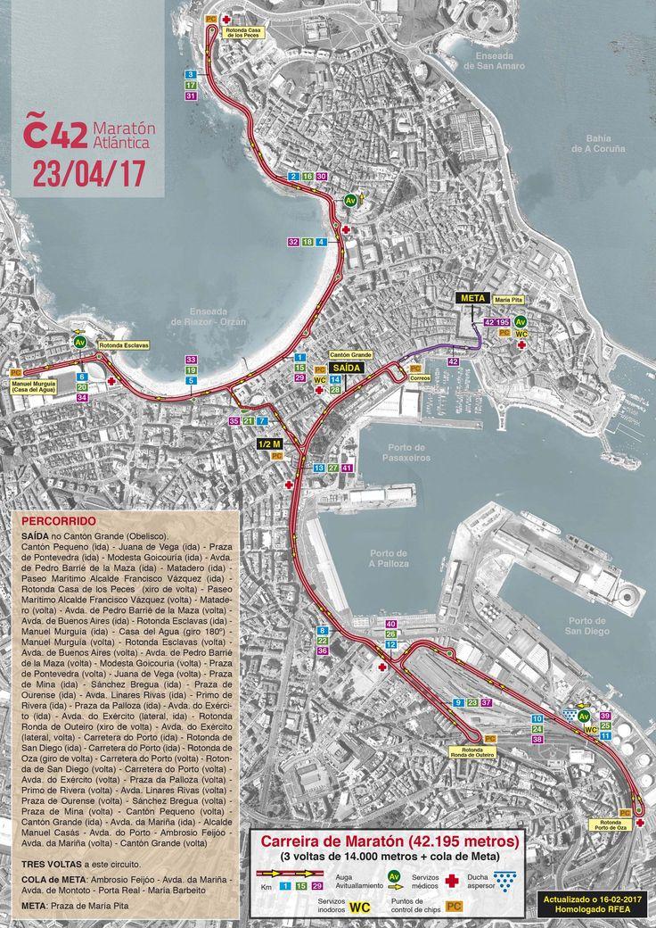 Este 23 de abril toca correr na #Coruña42, a #MaratónAtlántica! Aquí tes o percorrido! #corunners #deporte #visitacoruña